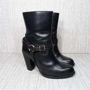 Frye Black Jenny Short Plate Leather Boots 7.5